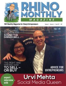 Urvi Mehta & Steve Sipress - Rhino Monthly Magazine May 2017